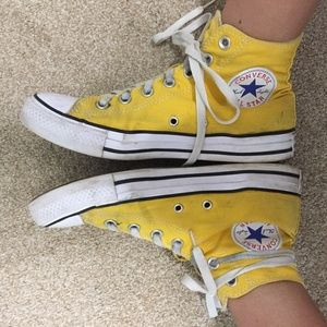 Yellow Hi-Top Converse